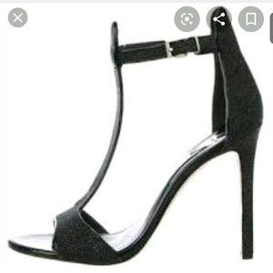 Black glitter B Brian Atwood T-strap Sandals 8